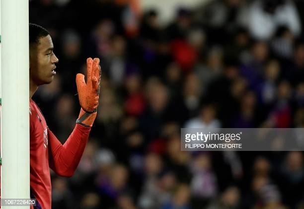 Fiorentina's goalkeeper Alban Lafont from France gestures during the Italian Serie A football match Fiorentina vs Juventus on December 1 2018 at the...