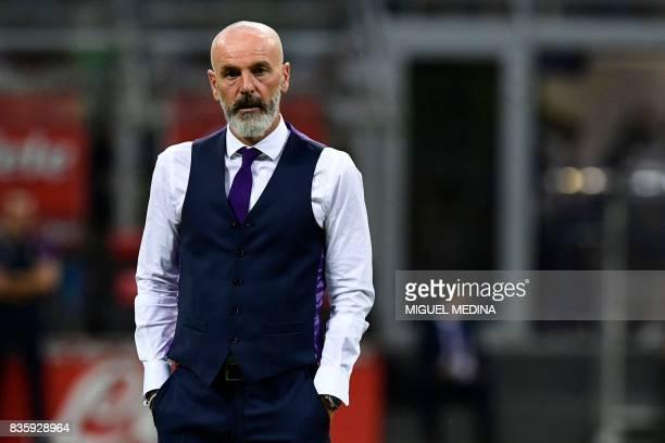 Fiorentina's Italian coach Stefano Pioli looks on before the Italian Serie A football match Inter Milan vs Fiorentina at the San Siro stadium in...