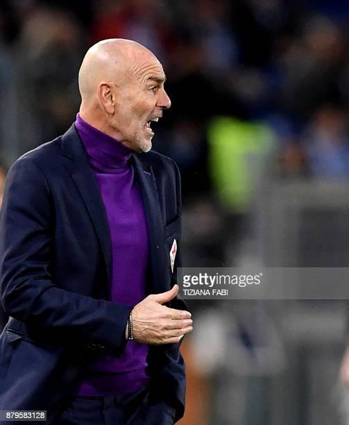 Fiorentina's Italian coach Stefano Pioli reacts during the Italian Serie A football match Lazio vs Fiorentina at the Olympic Stadium in Rome on...