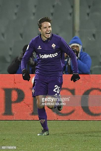 Fiorentina's Italian forward Federico Chiesa celebrates after scoring during the Italian Serie A football match between Fiorentina and Juventus at...