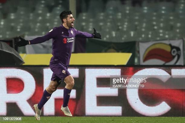 Fiorentina's Italian midfielder Marco Benassi celebrates after scoring 41 during the Italian Tim Cup round of eight football match Fiorentina vs AS...