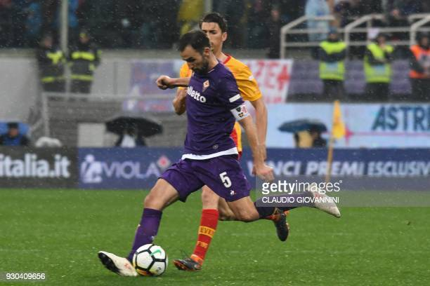 Fiorentina's midfielder and new captain Milan Badelj controls the ball during the Italian Serie A football match Fiorentina vs Benevento on March 11...