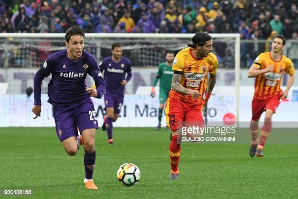 Fiorentina's midfielder Federico Chiesa runs for the ball during the Italian Serie A football match Fiorentina vs Benevento on March 11 2018 at the...