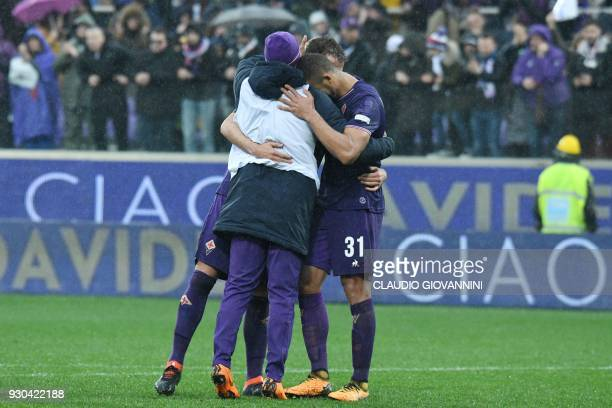 Fiorentina's players comfort each others on March 11 2018 at the end of the Italian Serie A football match Fiorentina vs Benevento at the Artemio...