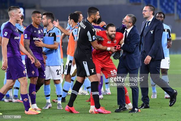 Fiorentina's Polish goalkeeper Bartlomiej Dragowski reacts at the end of the Italian Serie A football match Lazio vs Fiorentina played on June 27,...