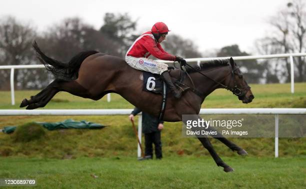 Firak ridden by Harry Skelton jumps the last prior to winning the Thanks To Dai Matthews Maiden Hurdle at Chepstow Racecourse. Picture date:...