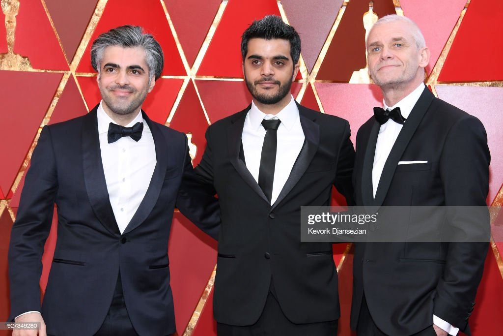 Firas Fayyad, Kareem Abeed, and Soren Steen Jespersen attend the 90th Annual Academy Awards at Hollywood & Highland Center on March 4, 2018 in Hollywood, California.