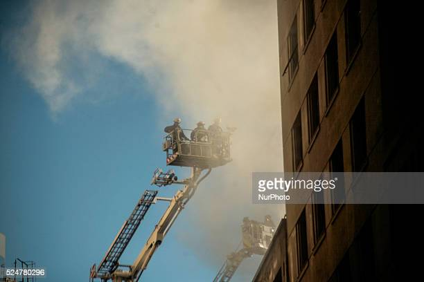 Fire affection cansilleria building in Santiago Chile over 13 fire companies try to control the fire on June 4 2014