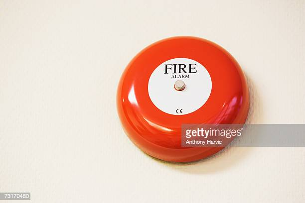 Fire alarm bell in office, low angle view