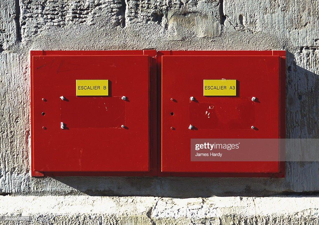 Fire alarm boxes : Stockfoto