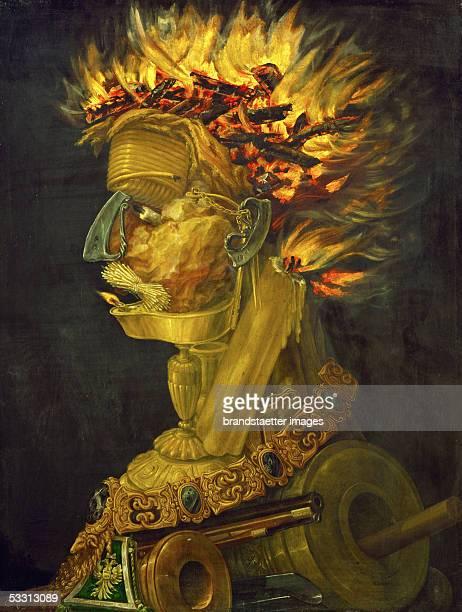 Fire allegory 1566 painted for Emperor Maximilian II Limewood5 x 51 cm Inv 1585 [Feuer Allegorie Gemaelde 1566]