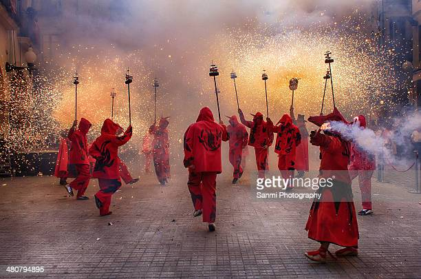 fire and demons - ceremony stock pictures, royalty-free photos & images