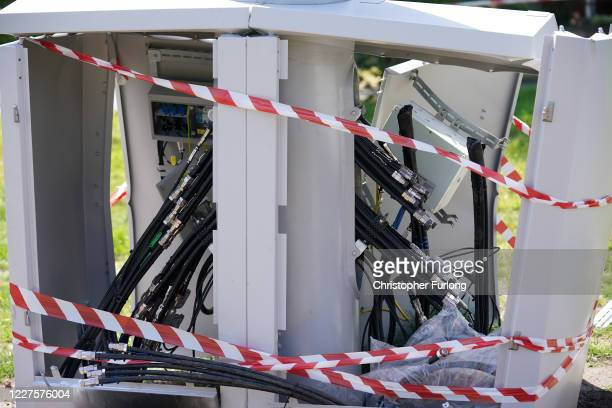 Fire and explosion damage can be seen on an EE network 5G mast that was attacked by an arsonist earlier this week in Brodie Avenue on May 28, 2020 in...