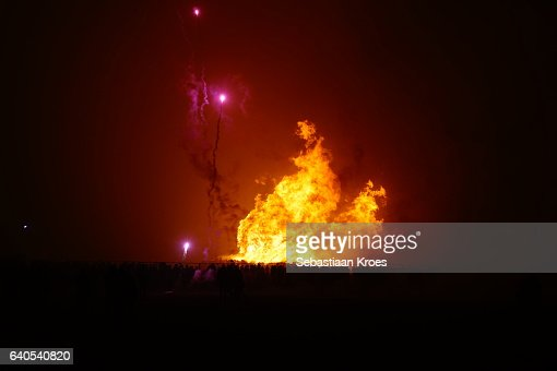Fire And Fireworks Beach Of Scheveningen New Years Eve The ...