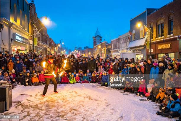 fire and ice festival in bracebridge ontario canada - snow festival stock pictures, royalty-free photos & images