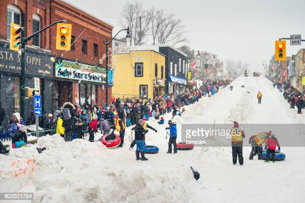 fire and ice festival in bracebridge ontario - snow festival stock pictures, royalty-free photos & images