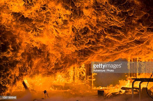 fire and intense flames burns home to the ground - hell stock pictures, royalty-free photos & images