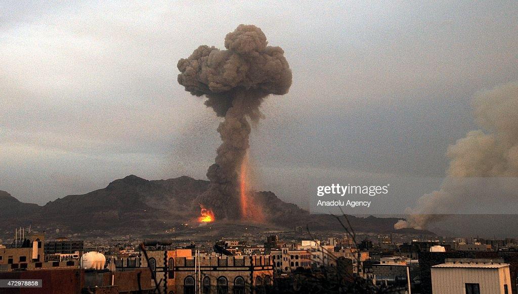 Saudi-led jets bomb Houthi-held sites in Yemeni capital : News Photo