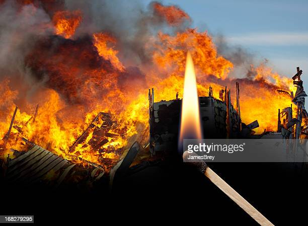 Fire, Arson, Mayhem, Lit Match, Insurance, Destruction, Burning, Ruins, Disaster