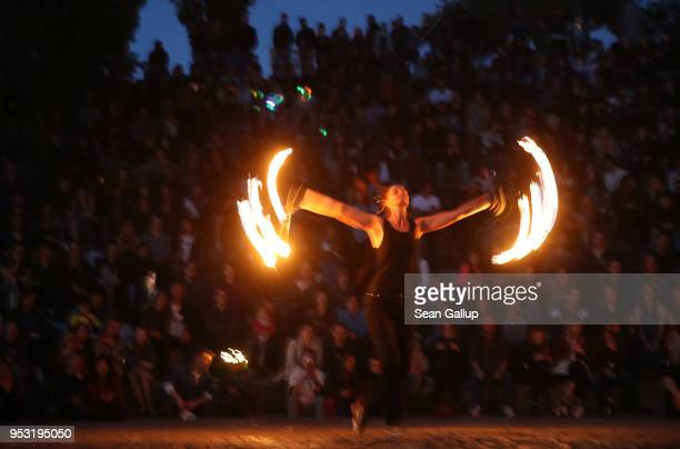 People gather at Mauerpark on Walpurgis night on April 30 2018 in Berlin Germany Walpurgis is traditionally the night of witches in Germany