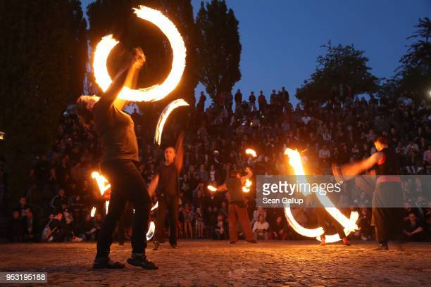 Fire artists perform at Mauerpark on Walpurgis night on April 30 2018 in Berlin Germany Walpurgis is traditionally the night of witches in Germany
