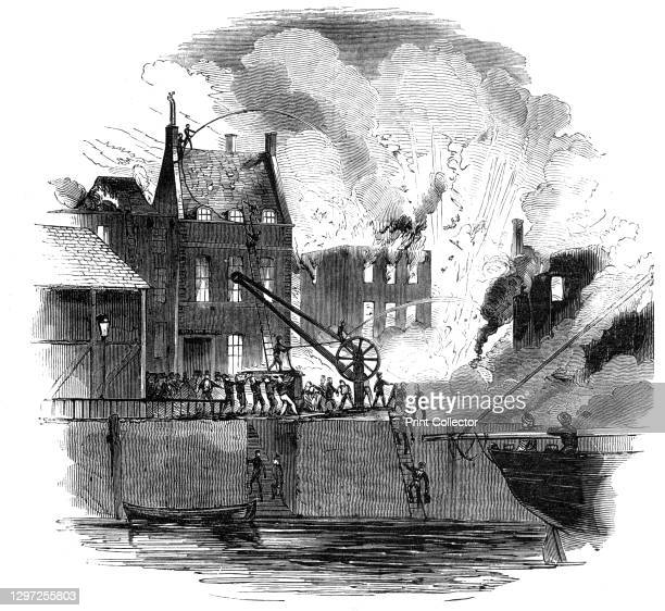 Fire at Boston - from a drawing by Mr. W. Caister, 1844. The Boston Herald: '...the town of Boston [Massachusetts] was visited by a most awful...