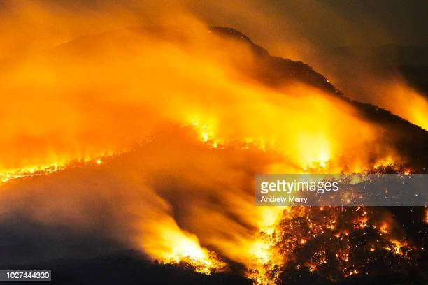 fire at night, bushfire, forest fire, blue mountains, australia - ongelukken en rampen stockfoto's en -beelden
