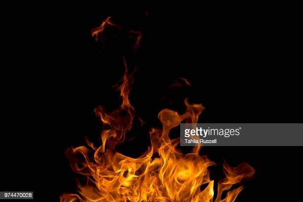 fire at night, perth hills, australia - 炎 ストックフォトと画像