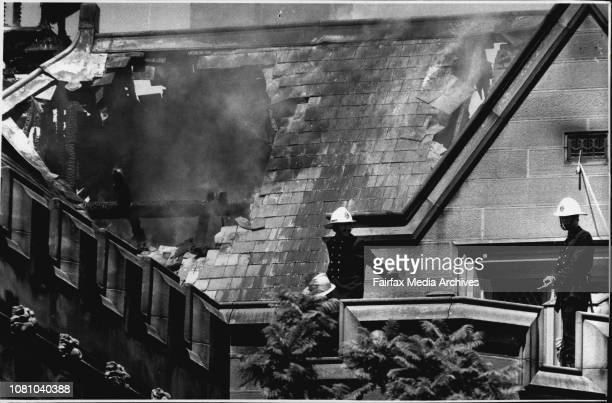 Fire at Sydney Uni....Museum assiant Ted Robinson with some of the items removed....Fireman on the roof of Sydney University's main building.Ted...