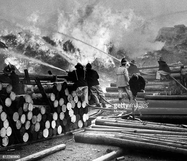 Fire at timber yard, destroying 50,000 pit props, Fenwick Timber Yard, Seaton Carew, Hartlepool, 8th May 1972.