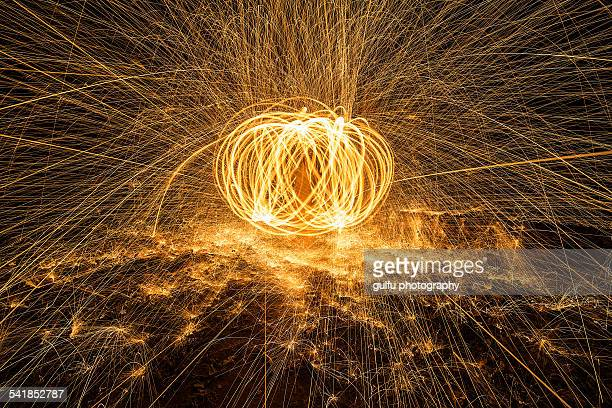 Fire ball created with steelwool
