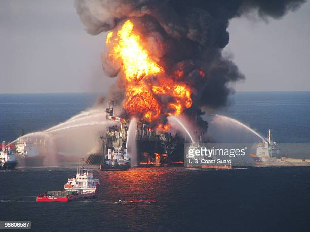 Fire boats battle a fire at the off shore oil rig Deepwater Horizon April 21 2010 in the Gulf of Mexico off the coast of Louisiana Multiple Coast...