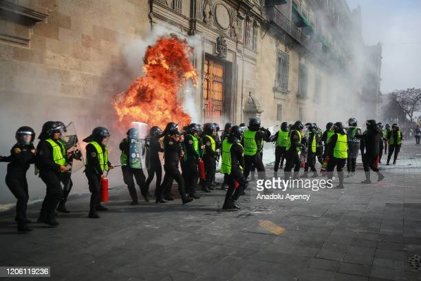 A fire bomb explodes during a protest on the International Women's Day in Mexico City Mexico on March 8 2020