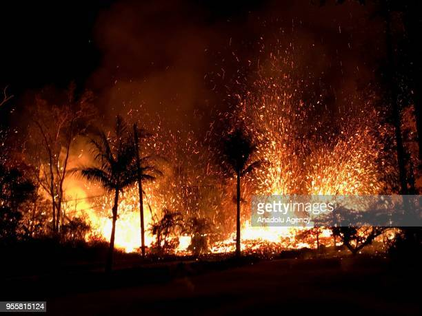 Fire breaks out at the forest as dozens of structures including at least nine homes have been destroyed by scorching lava flows following a massive...