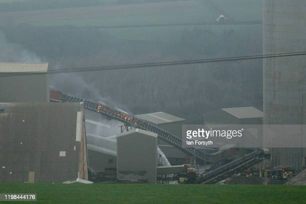 A fire breaks out on a conveyor system at the ICL Boulby Potash Mine on January 09 2020 in Boulby England Underground operations were suspended until...