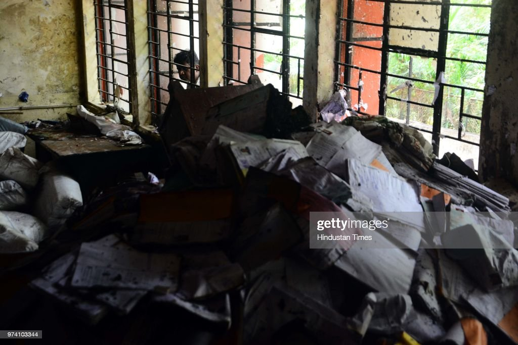 A fire breaks out on the first floor of the Regional Transport Office (RTO) due to short circuit, on June 13, 2018 in Pune, India. No one was injured in this incident and the situation was brought under control by the fire brigade within 15 minutes.