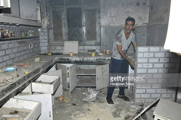 A fire broke out at the house House NoD5 at Sector 3 residence of Nithari killings case coaccused Moninder Singh Pandher on October 9 2014 in Noida...