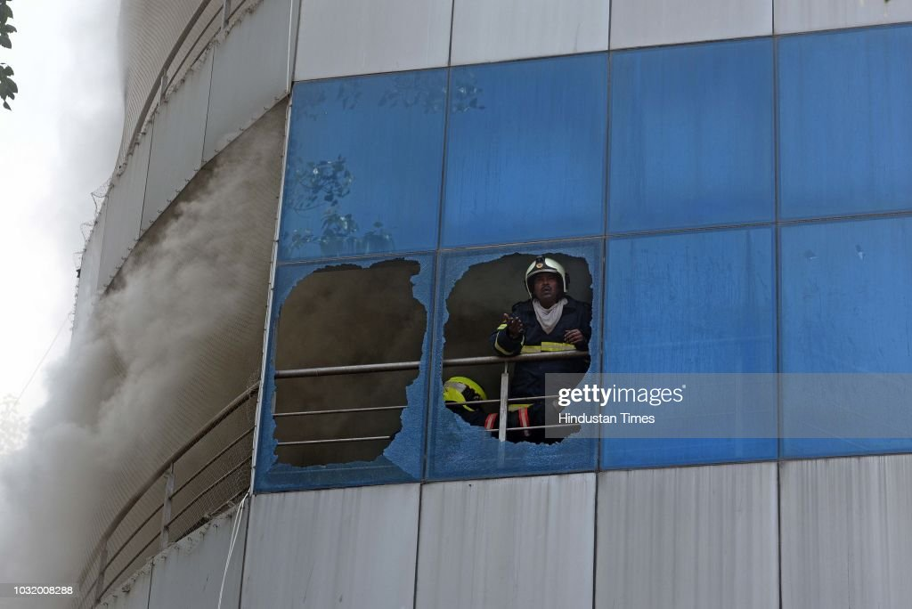 A fire broke out on the second floor of the seven-storey building at Madhu Industrial Estate, Andheri(E), on September 11, 2018 in Mumbai, India. Four fire engines were sent to the spot but the fire was categorised level III, following which eight fire engines have been deployed.