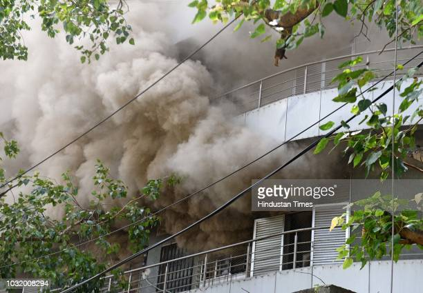 A fire broke out on the second floor of the sevenstorey building at Madhu Industrial Estate Andheri on September 11 2018 in Mumbai India Four fire...