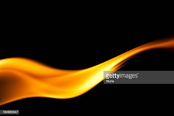 fire burning, flames on black background