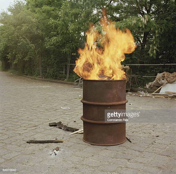 A fire burning in a barrel