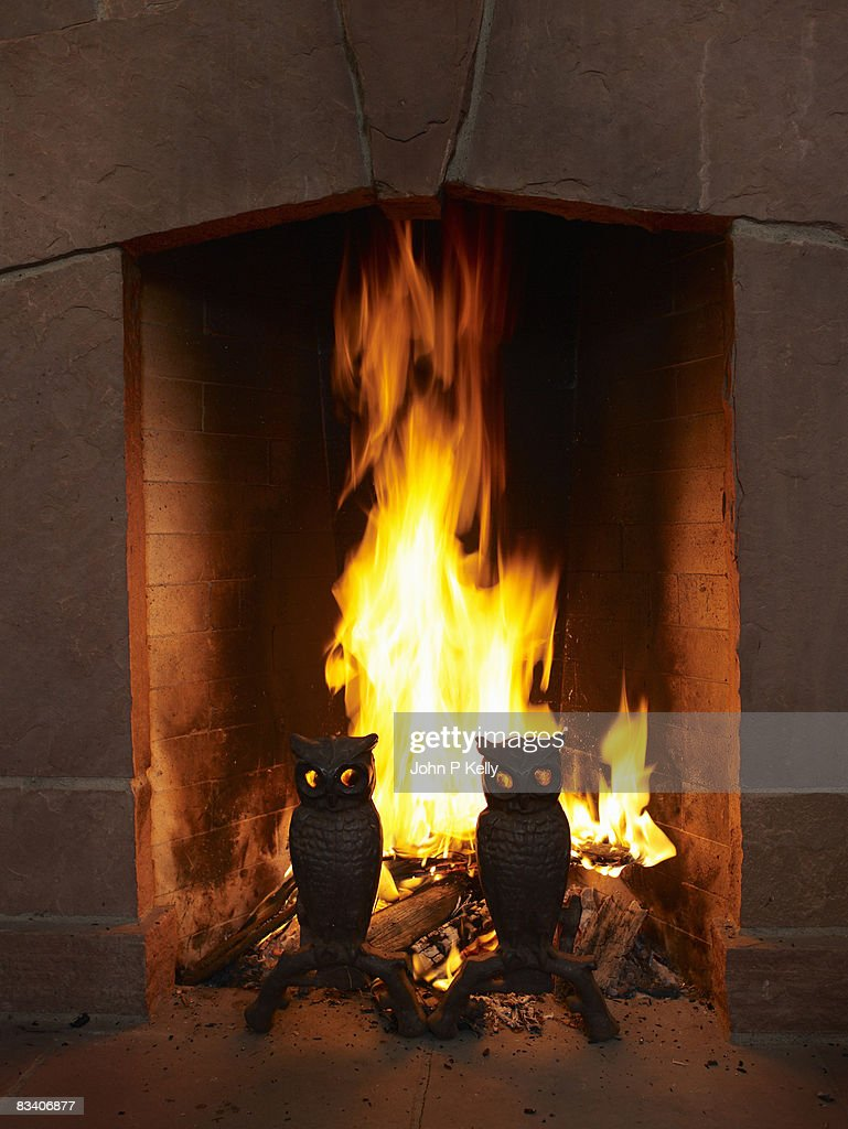 Fire burning in fireplace. : Stock Photo