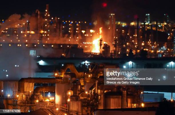 A fire burns after an explosion at the Marathon Refinery in Carson on Tuesday Feb 25 2020