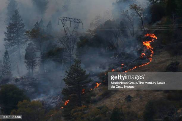 Fire burns around PGE transmission towers Monday November 12 east of PulgaCalif The first report of the deadly Camp Fire was made near here