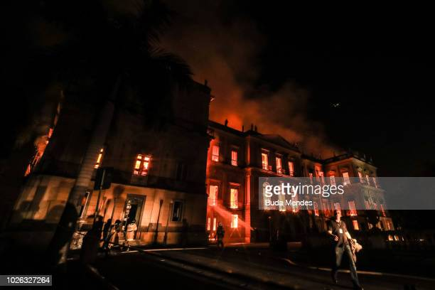A fire burns at the National Museum of Brazil on September 2 2018 in Rio de Janeiro Brazil The museum which is tied to the Rio de Janeiro federal...