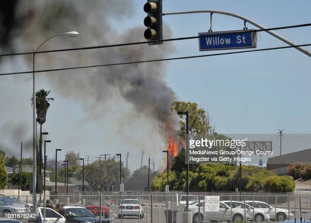 USA A fire burns brush in Long Beach CA as police use tear gas to look for a bank robbery suspect on May 13 2010 The suspect was captured Thursday...
