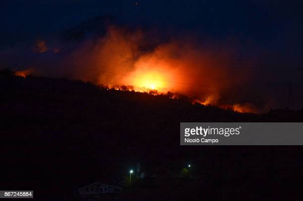A fire burns in a mountain of the Susa Valley near Turin The fires have been burning for several days favored by strong wind and drought so smoke has...