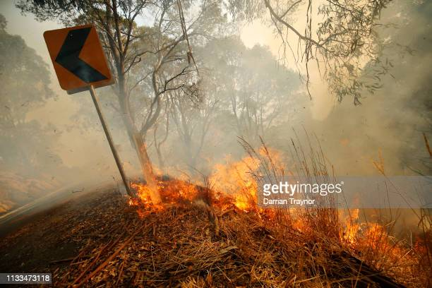 Fire burns in Jumbuck on March 04 Australia Fire crews are battling more than 20 bushfires ablaze in southeast Victoria A fire in Bunyip State Park...