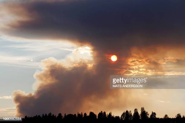 TOPSHOT Fire burns in Karbole Sweden on July 15 2018 Due to the dry weather many wildfires burned in Sweden / Sweden OUT