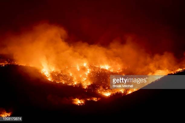 Fire burns within sight of the suburban fringe of the city of Canberra on January 31, 2020 in Canberra, Australia. ACT Chief Minister Andrew Barr...